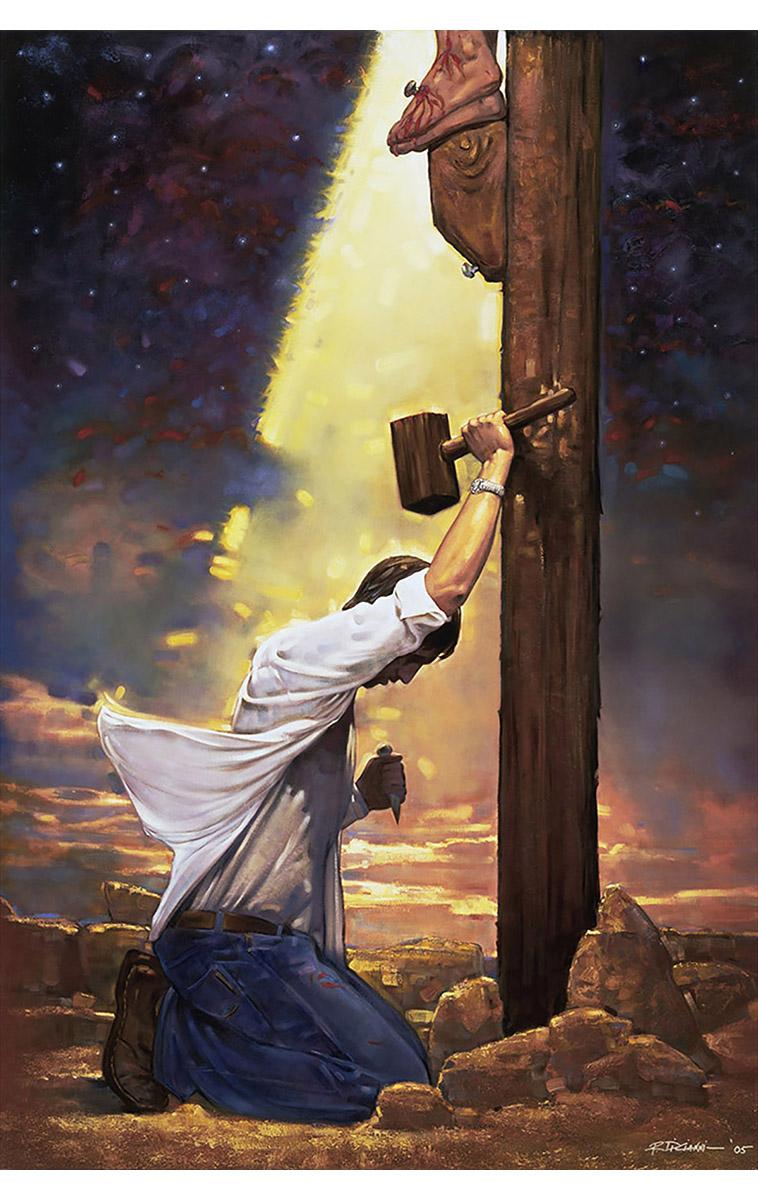 the glorification of christs sacrifice in mia tavonattis artwork the crucifixion Simon dewey painting-come unto christ jesus, the light of the worldjohn faith in christ is not a leap into the dark: it's a step into the light  mia tavonatti .